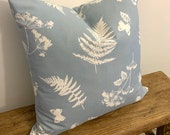 Fern & Butterfly Cushion, Decorative Cushions, Scatter Cushion, Blue and White Cushion