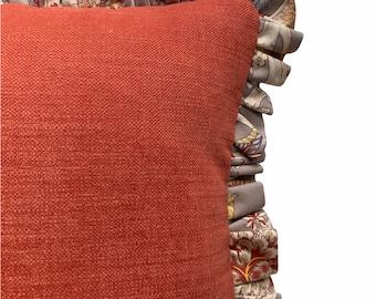 Two tone ruffle cushion