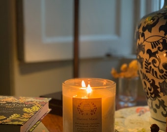 Harvest Moon Candle • Autumn Candle • Scented Soy Candle • Fabric Gift Bag