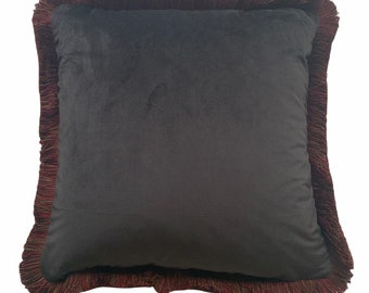 Chocolate velvet cushion with fringe
