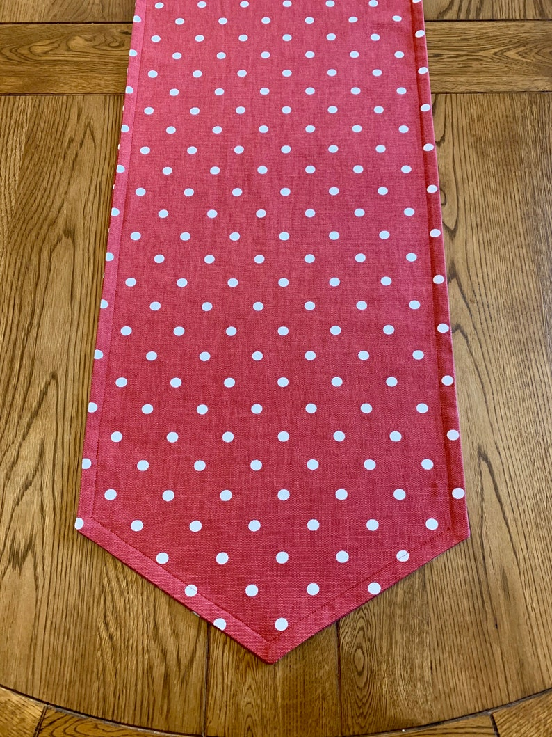 Ready To Ship Tapered Ends Country Table Runner Polka Dot image 0