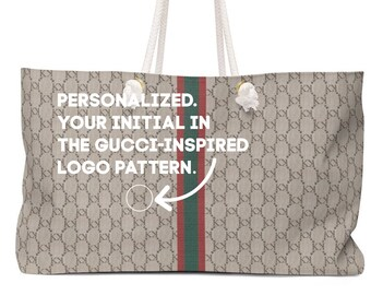 2db6a679e76 Custom Logo Monogram Gucci Diamante Tribute Homage Faux Personalized  Weekender Bag