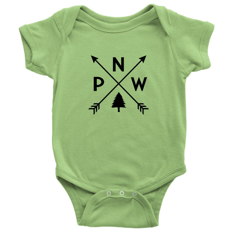 PNW Baby Shower Gift Pacific Northwest Baby Romper PNW Arrows Infant Bodysuit Crossed Arrows Compass Design One Piece