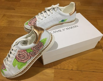 custom sneakers , basket , shoes , chaussure , custom art , size 7,5 US ,  taille 39 Eur 237c1efae977