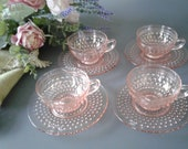 8 pc. Vintage Pink Glass Hobnail Cups Saucers