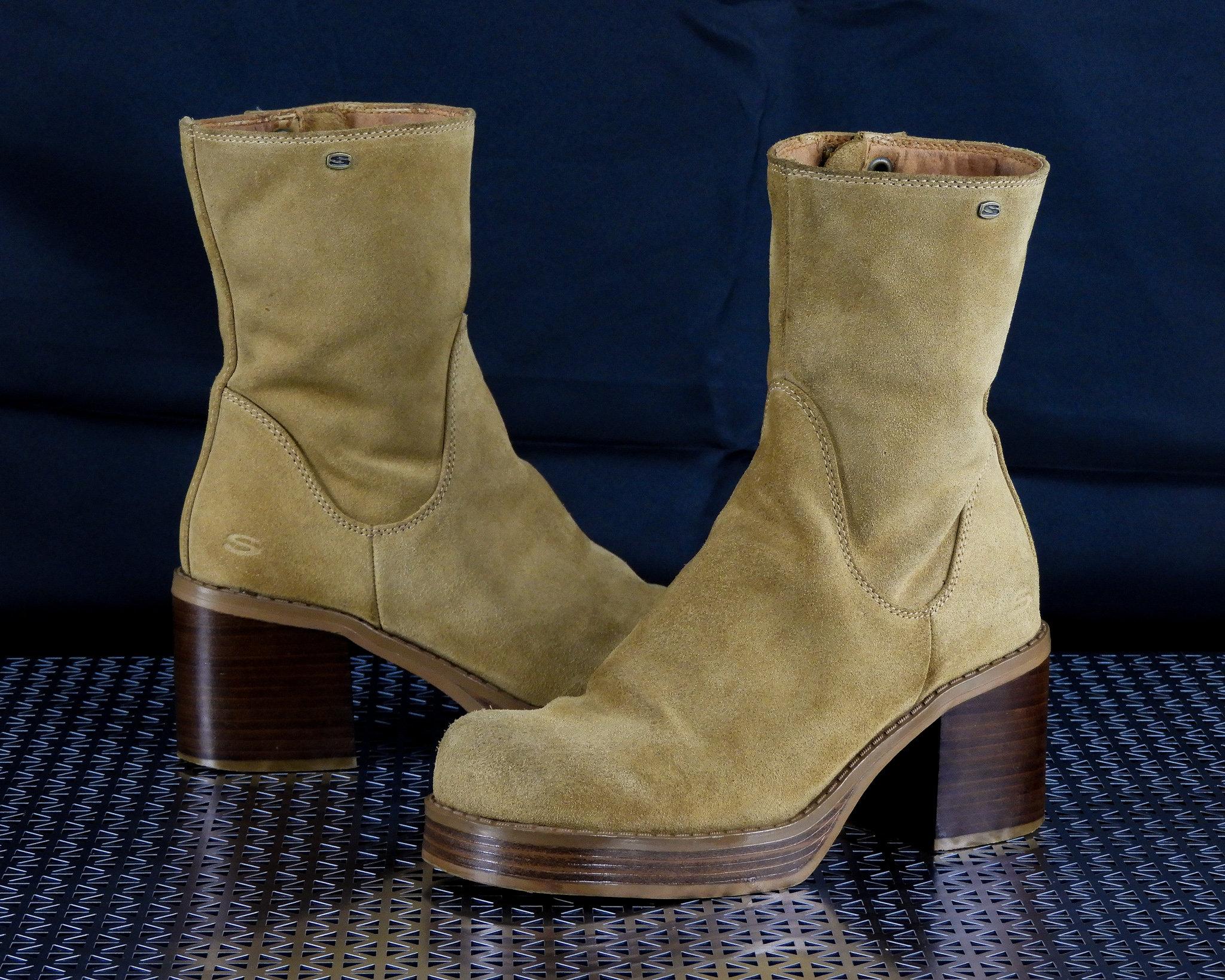 Vintage Platform Boots, Chunky Heels