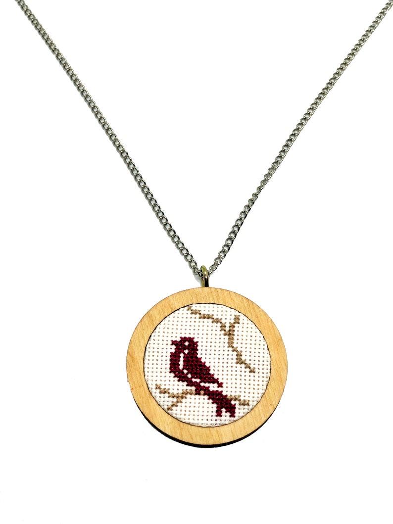Modern DIY Cross Stitch Kit Bird DIY KIT Beginner Cross Stitch Kit Hand Embroidered Cross Stitch Necklace Kit