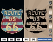 Route 66 American Pride Vintage Road Sign Logo .svg .png Vector Art for digital printing projects Shirts, Coffee Mugs, Posters, Stickers