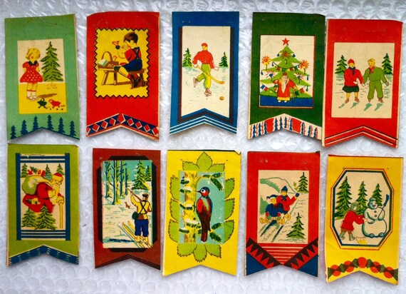 Russia Christmas Ornaments.Set Of Paper Flags Garland Vintage Russian Christmas Ornament Ornaments Rare Feather Tree Garland Decoration Antique Paper Rare Catalog Flag