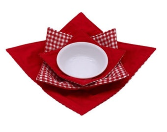 Gifts  under 10 dollars Reversible Tiny Puppies Cream Microwave Bowl Cozy Table Protector Microwave Pad,Cold Food Cozy all cotton