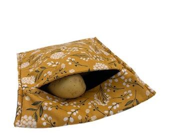 Microwave potato bag, fabric potato cooking pouch, potato cooker, microwave-safe baked potato bag, flower printed potato bag, kitchen gift