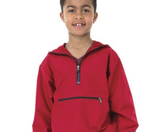 5282b591325e Youth Monogrammed Charles River Rain Jacket - Charles River Pack N Go Rain  Coat - Pull Over, Pack-N-Go Wind Breaker, Back to School