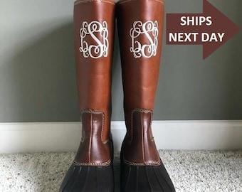 c53f738a833dc Monogram duck boots | Etsy