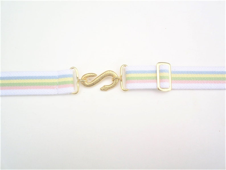 ladies rainbow elastic snake buckle  belts  rare gold colour buckle fits 24 to 34 inch waist