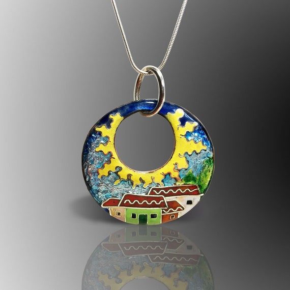 High Quality Cloisonne Enamel Jewelry Silver 925 Sun and House Glass Art Pendant Adventure Sun and Houses Cloisonne Necklace