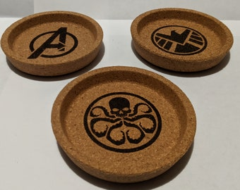 Token Trays Compatible with Marvel Champions LCG - Fan Made Laser Engraved Cork Trays