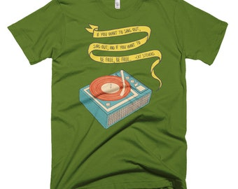 bb42d405c8d If you want to sing out--Cat Stevens Record Player T Shirt