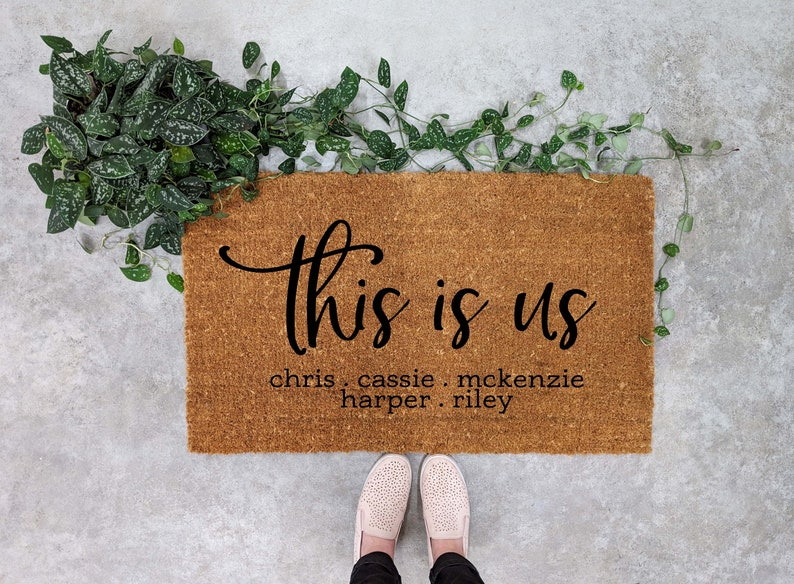This is Us - personalized door mat with family members names.