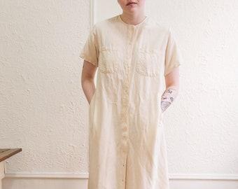 eb062fa9652d Vintage L.L Bean White Raw Silk Dress