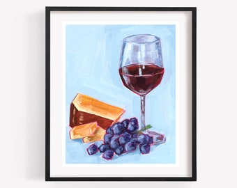 Wine Cheese Painting Etsy
