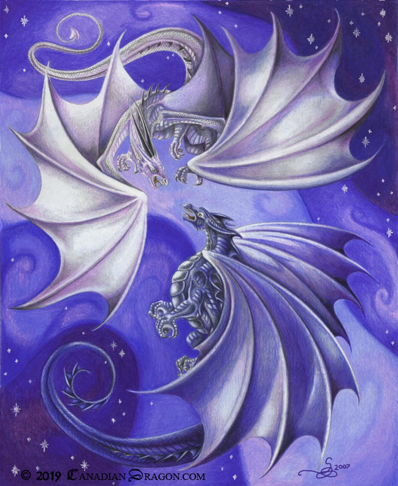Fantasy Room Modern Decor Dragon Art Fantasy Art Purple Blue Dragon Wall Art Game Room Wall Decor- of Starry Night Dragon Battle