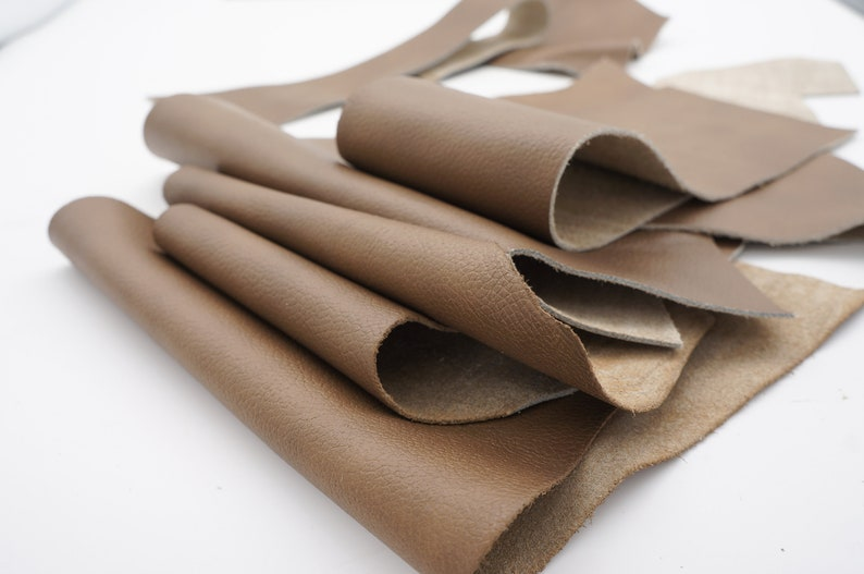 jewelry,sand-brown-olive color H062 Real leather scraps.Remnants pieces of genuine leather for DIY leather crafts