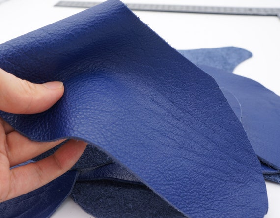 Dark Blue Leather Hide Sheets 4 Blue Scrap Leather Pieces Leather Sheets for Craft 5x5 Inches 12x12 Centimeters