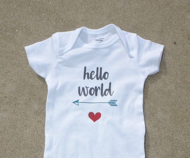 Newborn Bodysuit Coming home Outfit Hello World Gerber Onesie