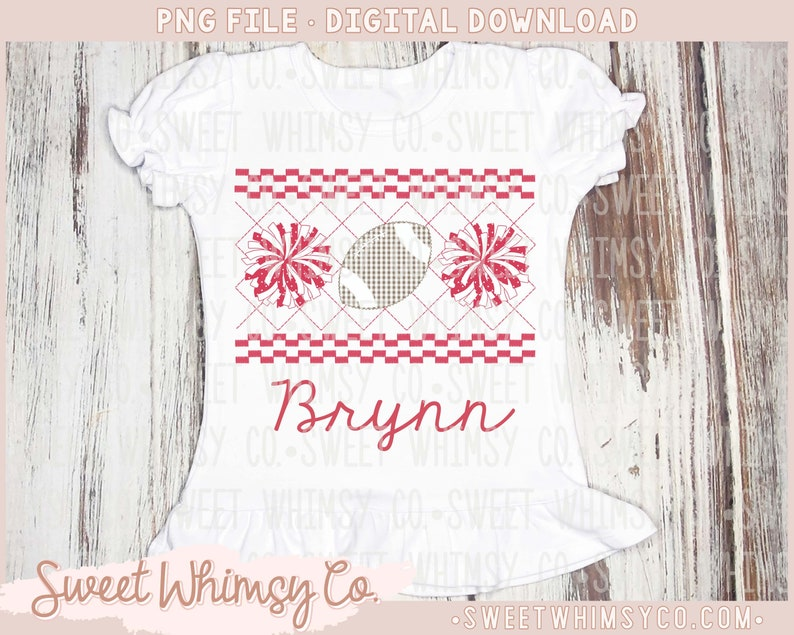 Football Cheer PomPom Red White Faux Smocked Stitched Embroidery Applique Design PNG Digital Download Clipart File