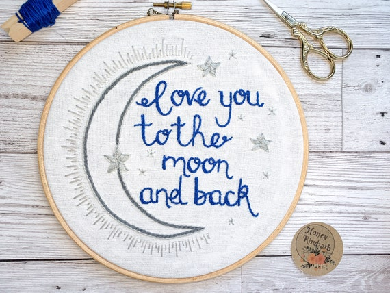 "Hand embroidered hoop ""Love you to the moon and back"" Sweet Inspirational Quote Home Decor Cute Wall Hanging Art"