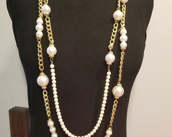 D inspiration Chanel collier, perles blanches, collier long, milieu du  siècle, cocktail party, mariage 2b764eb3ac9