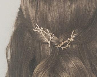 Twigs hair pins | Wedding hair pins | Bride bridesmaid hair accessories | Flower bobby pins, Vintage hair accessory, Boho style, Tree Branch