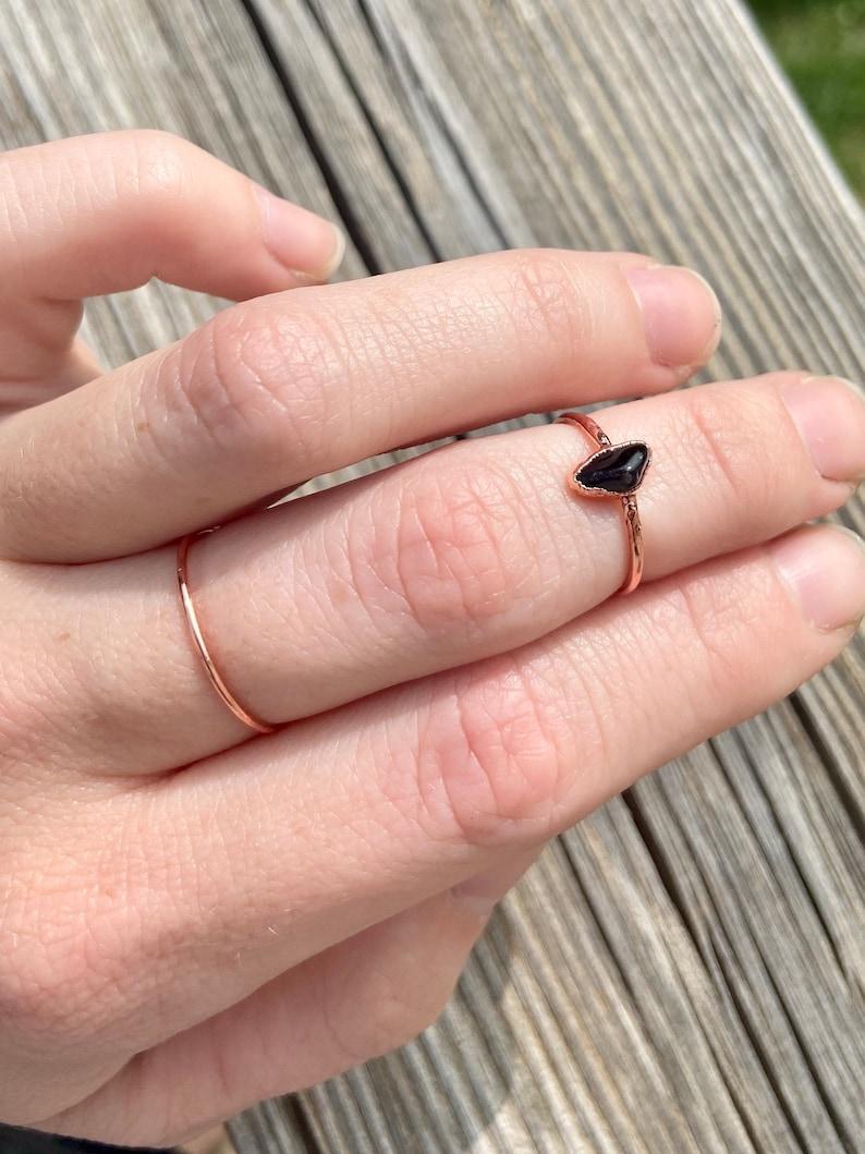 Black Obsidian Electroformed Ring