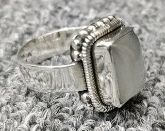 Lucifer Morningstar Rings | 925 Sterling Silver | Rectangle Shape | White Monalisa Gemstone | Lucifer's Ring | Handmade | UNISEX Ring