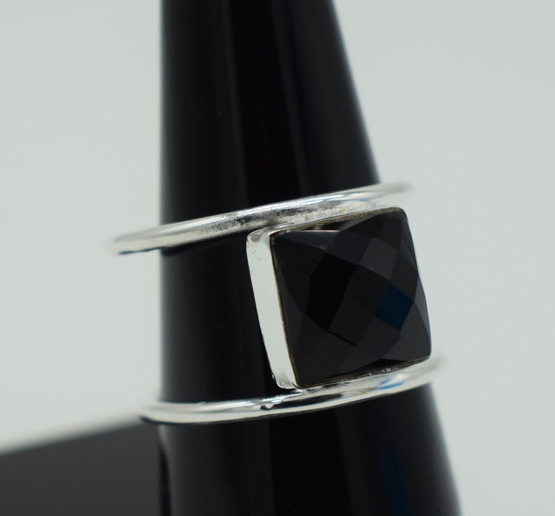 Solid 925 Sterling Silver Square Shape Gemstone NATURAL BLACK ONYX Beautiful Handmade Rings  Gift for Her Rings valentine/'s gifts