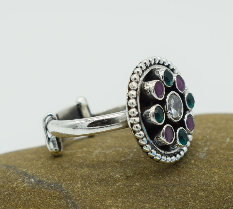 SOLID 925 STERLING SILVER Handmade rings  sizable rings beautiful Round Rings  Multiple Color gemstone jewelry ring gift for her jewelery