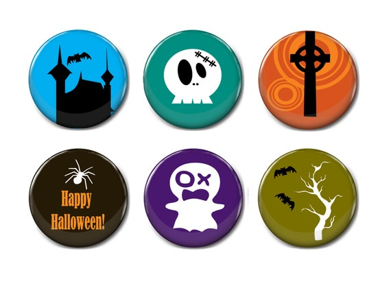 Happy Halloween Message 25mm Button Badge with Fridge Magnet Option