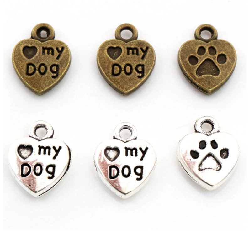 Silver Love Heart for Dog Lovers Silver Charm Dog Heart
