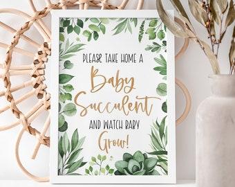 Baby Shower Succulent Favor Sign, Succulent Baby Shower Sign, Baby Succulent Sign, Succulent Favors Sign, Instant Download