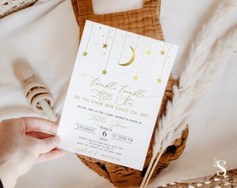 Twinkle Twinkle Little Star Baby Shower Invitation , Gold Moon and Stars Invitation, INSTANT DOWNLOAD, Boho Moon and Stars