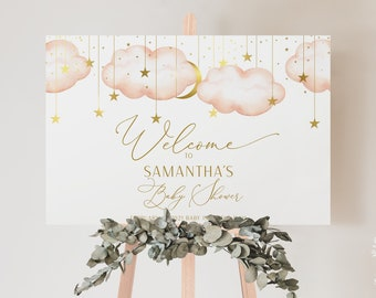 Baby Shower Welcome Sign, Twinkle Twinkle Little Star Baby Shower Welcome Sign, Gold Moon and Stars Sign, INSTANT DOWNLOAD, PTTLS
