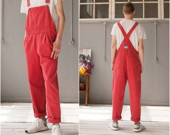 63f8f739299a2 90s Denim Dungarees Red Jean Overalls Mens M Womens L made in FINLAND  Oversize Baggy Dungarees Clay Red Denim Bibs Oversize Jean Jumpsuit