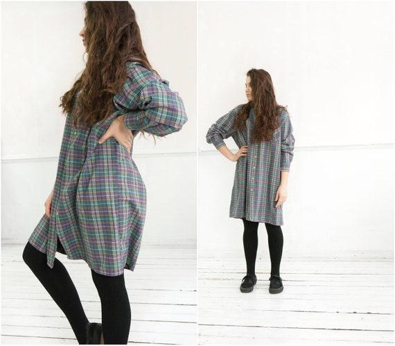 90s Oversize Flannel Shirt Size M Long Shirt Dress