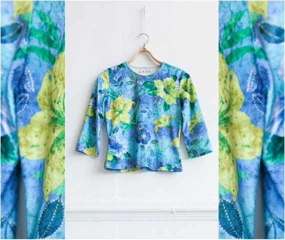 90s Velvet Crop Top S Blue Floral Velvet Top Crush