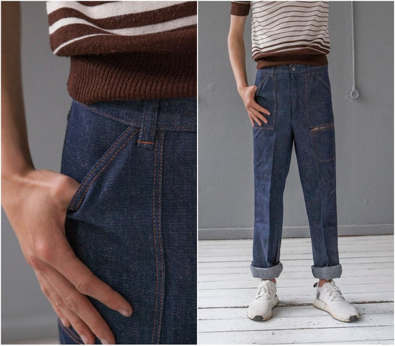 50s 60s High Waisted Jeans W29 Retro Pleated Strai