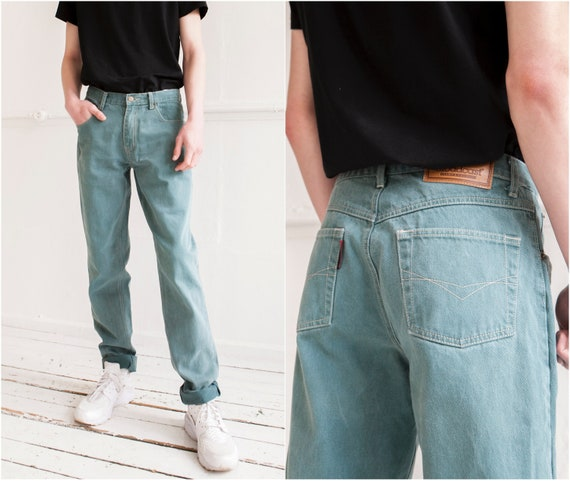 80s Green Jeans W31 Relaxed Fit Men Jeans High Wai