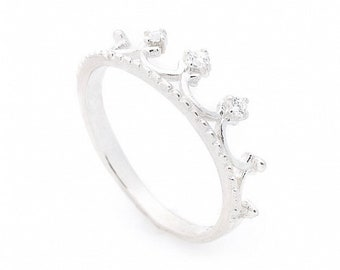 d80669a543 Silver crown ring Cubic zirconia ring Sterling silver ring Princess crown  ring CZ Tiara ring Delicate ring crown Simple engagement ring