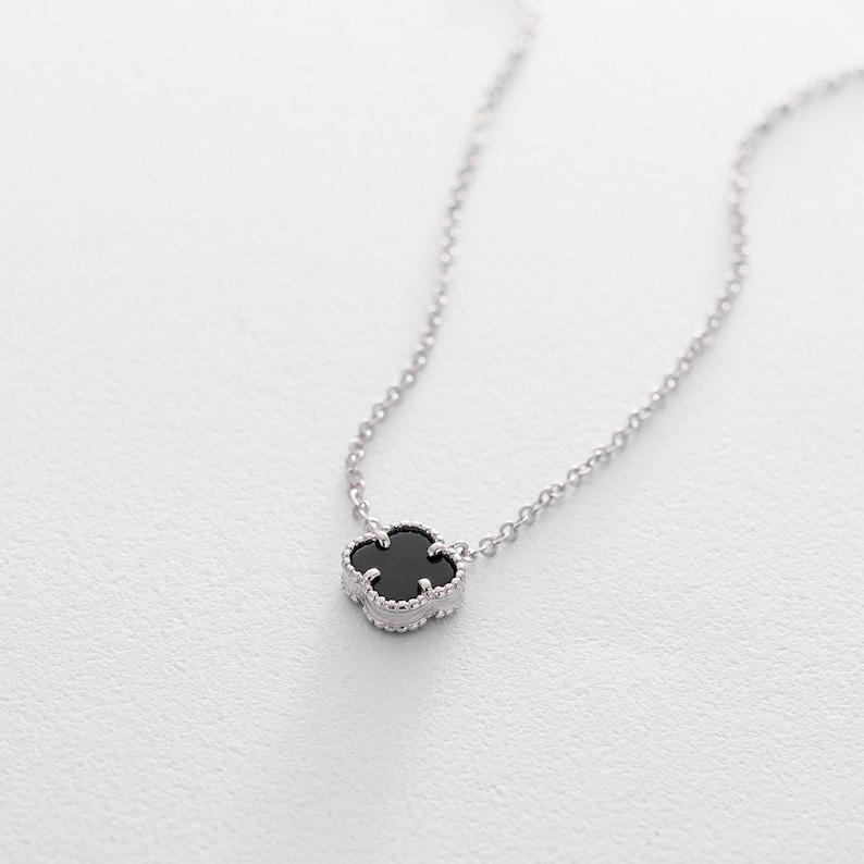564be94d4be27 Black onyx necklace Quatrefoil necklace Black clover necklace Sterling  silver Four leaf clover lucky pendant Quatrefoil pendant