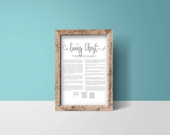 The Living Christ, Lds Print, Lds Decor, Easter Gift, Lds Easter Gift, Ministering Gift Idea, Family Proclamation, LDS Quote, LDS Gift Idea