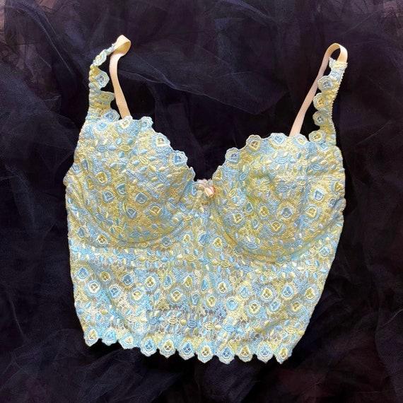 Vintage 90's Victoria's Secret Pastel Blue & Yell… - image 1